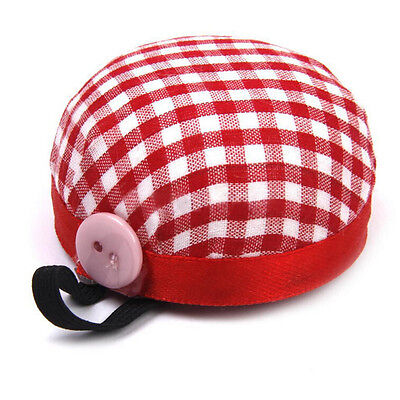 Red Plaid Grids Needle Sewing Pin Cushion Wrist Strap Tool Button Storage TSUS