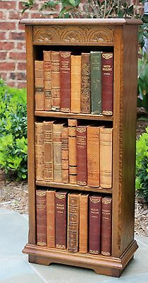 Antique English Carved Oak 3-Tier Bookcase Book Rack Display Shelf PETITE #2