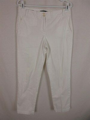 Talbots Women's sz 6 White Cotton Stretch Skinny Leg Pants