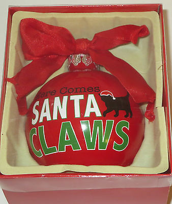 Here Comes Santa Claws Christmas Ornament Glass Ball Red Cat Santa Hat Kitten