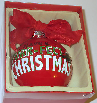 """Have A Purr-fect Christmas Ornament Glass Ball Red Cat Pets New 4"""" Santa Hat Pet"""