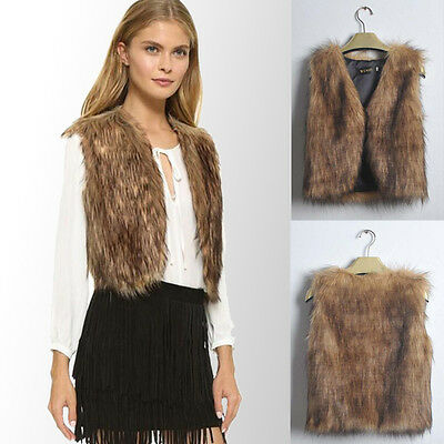 Womens Winter Faux Fur Waistcoat Gilet Jacket Coat Sleeveless Outwear Vest CA
