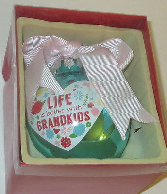 """Life Is Better With Grandkids Christmas Ornament Glass Ball 4"""" New Grandma Blue"""