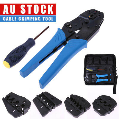 Ratchet Terminal Crimping Ferrules Crimper Plier Insulated Cable Tool with 5Dies