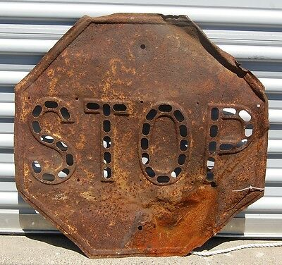 Vintage Cats Eye Stop Sign with Holes for Glass Marble Reflectors