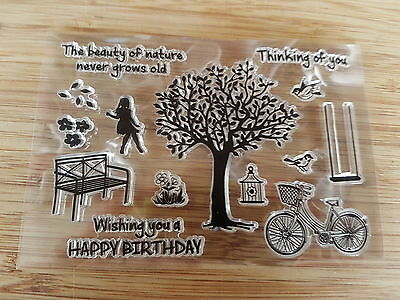 Clear Stamp Card Making  Scrapbooking Stamping Craft - nature tree birthday