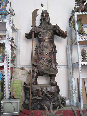 "79""Large Chinese Bronze carved Dragon Guan Gong warrior God ""Guan Yu"" Statue"
