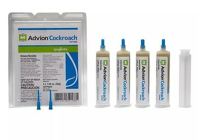 Advion Syngenta Cockroach Gel Bait Roach (4 Tubes)  with free Plunger and Tip!
