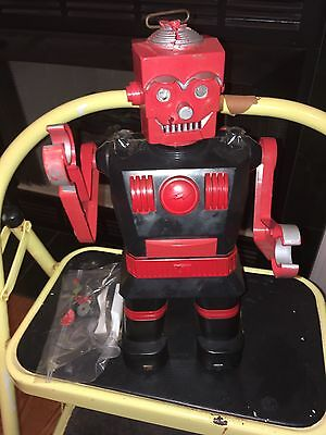 Vintage 1950's Marx Plastic Robot For Parts. Tool Included. 14 Inch Tall. Used