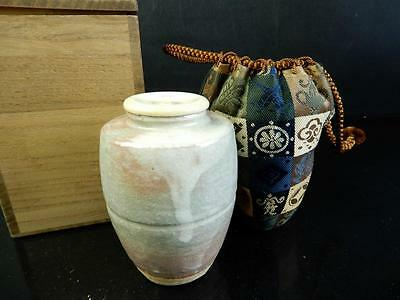 F8855: Japanese Hagi-ware White glaze TEA CADDY Chaire High class lid w/box