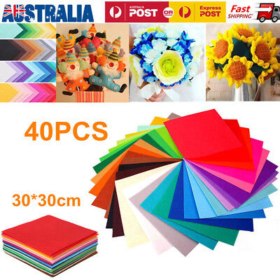 40PCS Mix Colored Acrylic Blend Felt Non-woven Fabric DIY Sewing Craft Sheets OZ