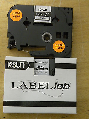 "Label lab K-Sun 609WB White on Black  PX Tape 3/8"" (9mm)"
