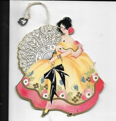 1930s art deco  bridge tally card spanish dancer with fan and gown 5 inches