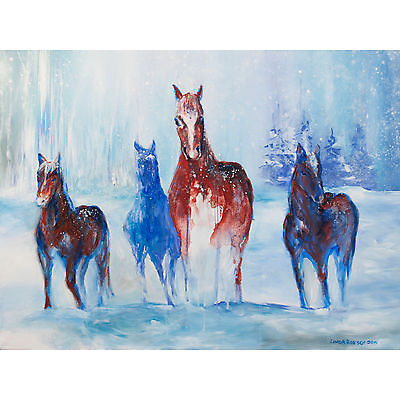 "'Winter Horses' art print on 80lb paper 10x13"" - blue and brown majestic horses"