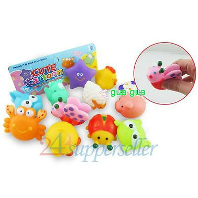 12pcs Soft Cute Baby Wash Float Bath Play Toys Rubber Sqeeze Animals Sound Toy