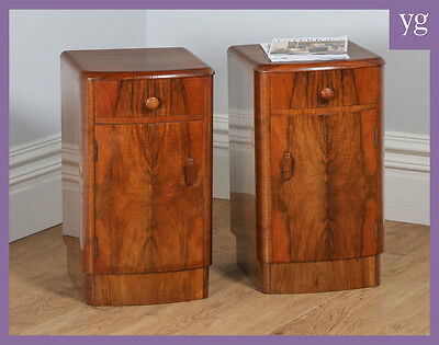 Antique Pair of Art Deco Figured Walnut Bedside Pot Cupboards Chests Cabinets