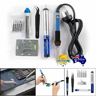 Adjustable Electric Temp Soldering Solder Iron Kit Wire Tips Stand Welding Tool