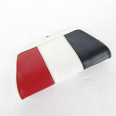 Vintage Faux Leather Red White Blue Small Clutch Purse