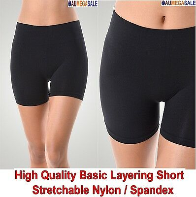 Ladies Girls Basic Seamless Short Leggings Layering High Waist Nylon Spandex
