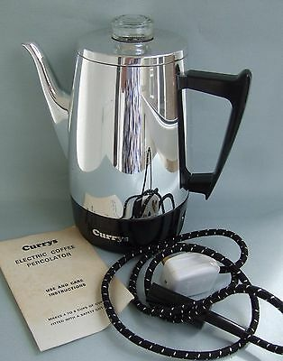 Vintage Currys Electric Coffee Percolator with leaflet, new, never used ~~~