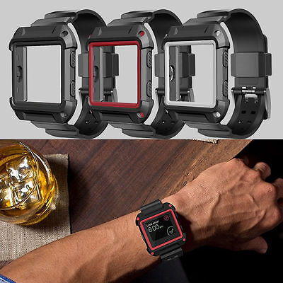 Rugged Protective Case Silicone Wrist Strap Watch Bands for Fitbit Blaze Traker
