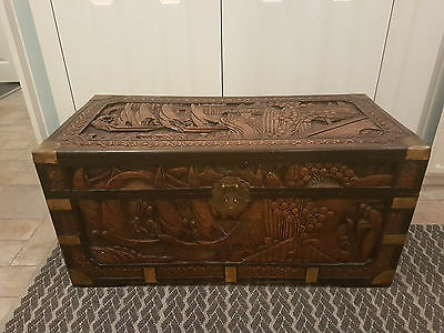 Antique Chinese Carved Camphor Chest brass corners trunk free del. up to 100m