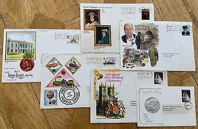 bundle of 6 1970's First Day Cover Stamps VGC collectable Churchill Royal Family