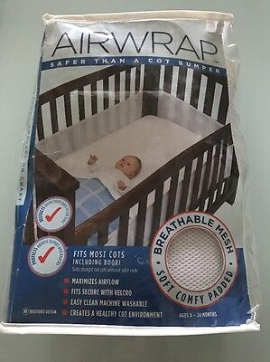 AIRWRAP Mesh Cot Bumper White Fits Most Cots incl BOORI