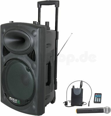 "Mobile Dj Musik Anlage Bluetooth Usb Sd Mp3 Player 15"" Subwoofer Pa Lautsprecher"