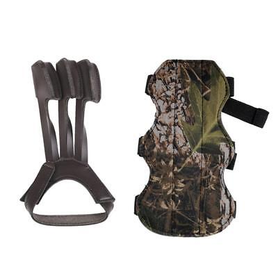 Durable Camo 3-Strap Archery Arm Guard + Leather 3 Finger Glove Bow Hunting