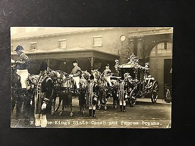 Vintage Real Photo Postcard HM THE KING'S STATE COACH & CREAMS Mrs Albert Broom