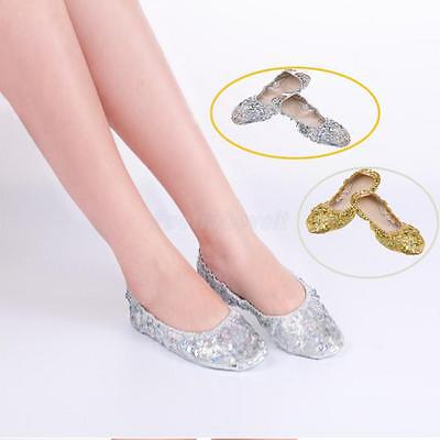 Foldable PU Leather Women Belly Dance Ballet Flat Soled Shoes Golden/Silver