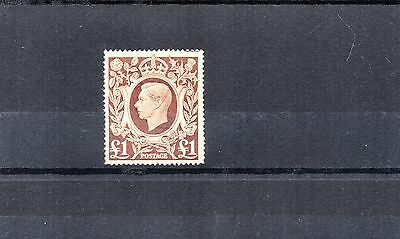 GB Geo VI 1939-48 £1 Brown ARMS High Value STAMP SG478c SUPERB USED Ref:X517