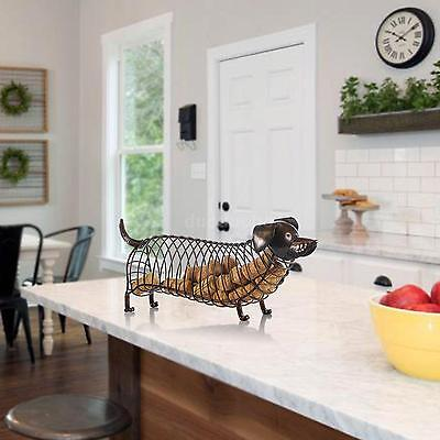 Tooarts Dachshund Wine Cork Container Iron Craft Animal Ornament Art Brown E9W4