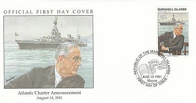 (00583) Marshall Is FDC WWII Atlantic Charter Announcement 1991