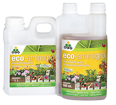 Eco Aminogro - Registered Organic Liquid Fertiliser - Promotes Healthy Plant 1L