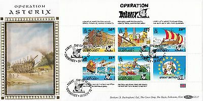 (00595) GB Guernsey Benham FDC Operation Asterix booklet pane 1992 331 of 500