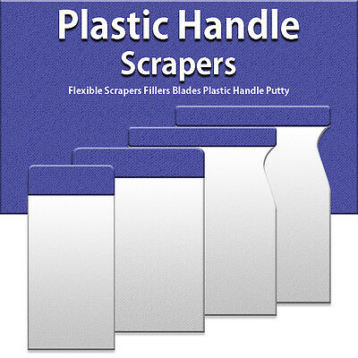 New Assorted Size Flexible Scrapers Fillers Blades Plastic Handle Wall Putty Set