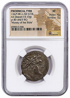Phoenicia, Tyre Silver Shekel Money of Bible Yr.83 (44/3 BC) NGC XF SKU46033