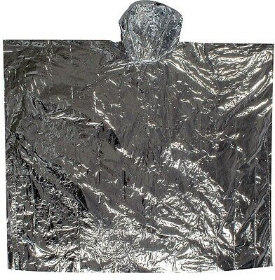 LIGHTWEIGHT REFLECTIVE FOIL SURVIVAL PONCHO Blanket Camping WINDPROOF SILVER