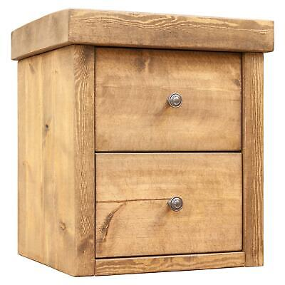Wood Bedside Tables | Rustic Solid Pine | Funky Chunky Furniture | 2 Drawer