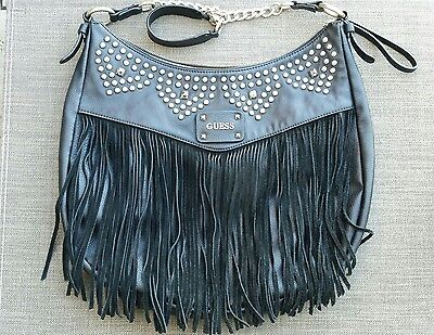 Guess Purse Large Black with Silver Rivets and Leather Fringe Hobo Handbag