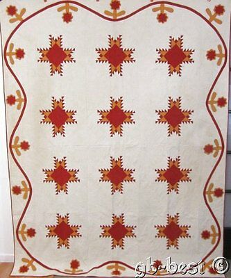 "Rare c 1880s Feather Star Antique QUILT Applique Border RED Cheddar 94"" x 74"""