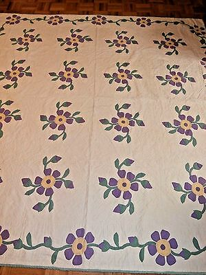 "Antique Vintage Floral Vine hand appliqued quilt 84"" x 84"" Beautiful quilting!"