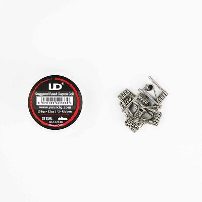 SS316L Staggered Pre-Made Clapton Coil-26AWG+32AWGx 2+0.5X0.1MM-0.2ohms-10 Pack