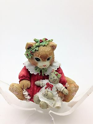 Vintage Calico Kittens Figurine Dressed in Our Holiday Best By Enesco