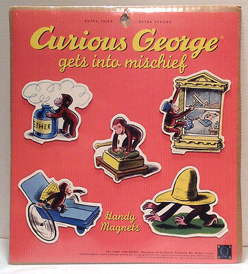 Curious George - gets into mischief - Set of 5 Magnets - Handy Magnets - New