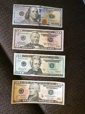 Paper Currency Crispy Star Notes, $ 100.  $50. $20. $10  Nice Run Size