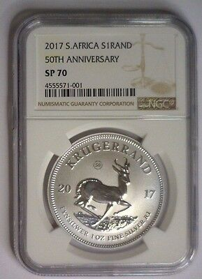 2017 NGC SP70 Silver Krugerrand South African Mint ~  50th Ann Privy 1 oz Unc