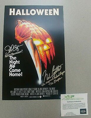 Autograph 1978 Halloween Movie Poster 11x17  John Carpenter Nick Castle signed